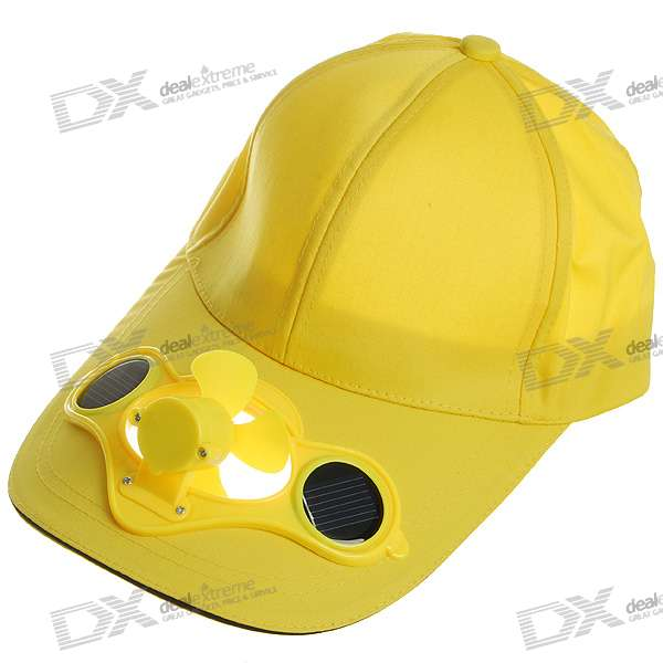 Stylish Baseball Hat/Cap with Solar Powered Cooling Fan (Yellow)