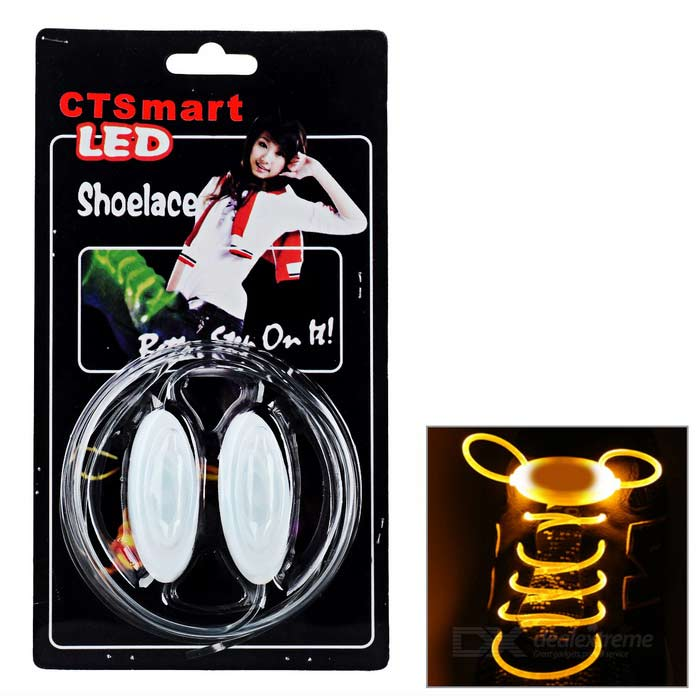 CTSmart Waterproof Yellow LED Luminous Glass Fiber Shoelace - WhiteBike Accessories<br>Form ColorWhite + YellowQuantity2 DX.PCM.Model.AttributeModel.UnitMaterialHigh light glass fiberTypeOthers,LED luminous shoelaceGenderUnisexBest UseCycling,Road Cycling,Others,Mountaineering and hikingOther FeaturesBuilt-in 2 x CR2032CertificationCEPacking List2 x Shoelaces<br>