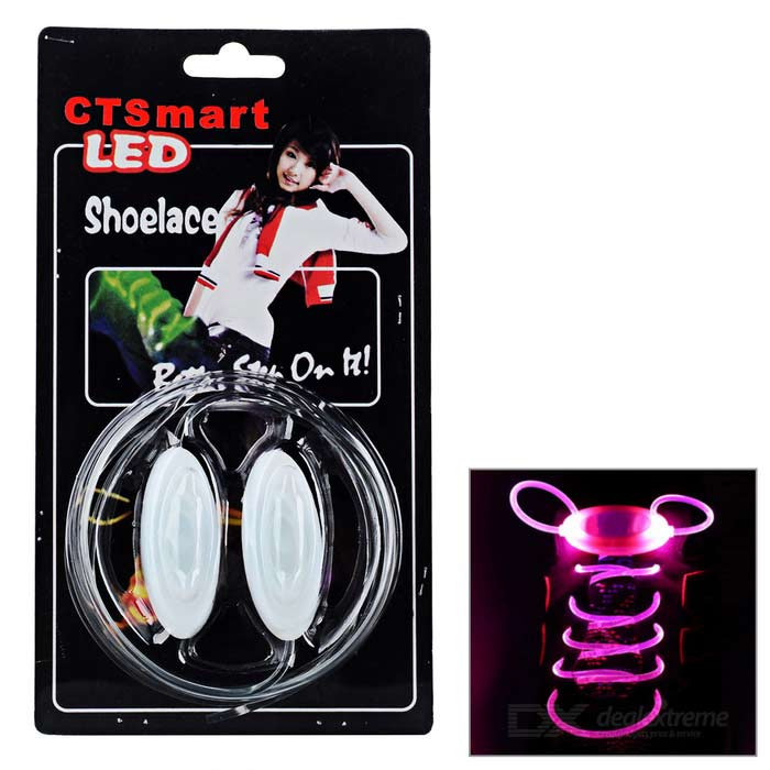 CTSmart Waterproof Pink LED Luminous Glass Fiber Shoelace - White