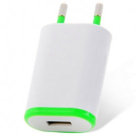 5V 1A USB AC Charger for IPHONE / Xiaomi + More - Green (EU Plug)