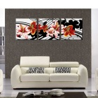 Bizhen Frame-free Lily Painting Canvas Wall Decor Murals - Red (3PCS)