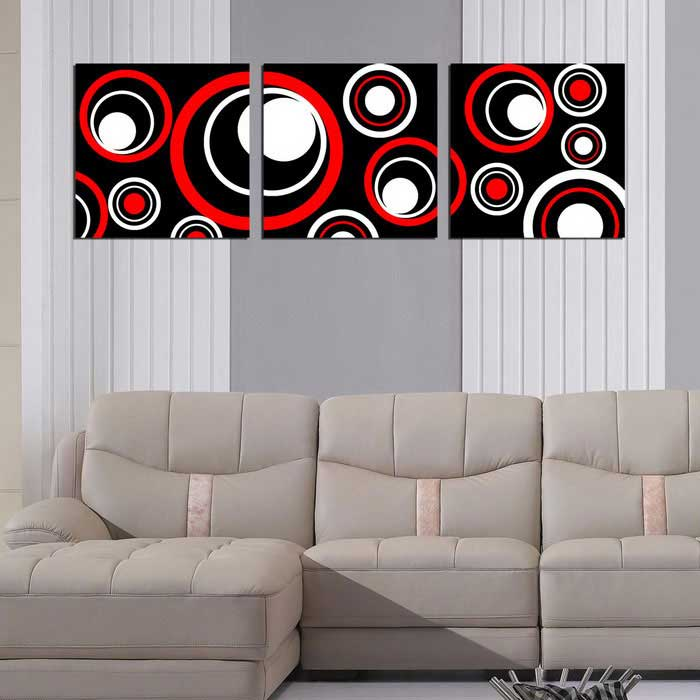 Bizhen Frame-free Abstract Circle Painting Canvas Wall Decor Murals 3 Panels (59.06  x 19.69 ) & Bizhen Frame-free Abstract Circle Painting Canvas Wall Decor Murals ...