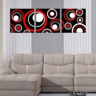 "Bizhen Frame-free Abstract Circle Painting Canvas Wall Decor Murals 3 Panels (59.06"" x 19.69"")"