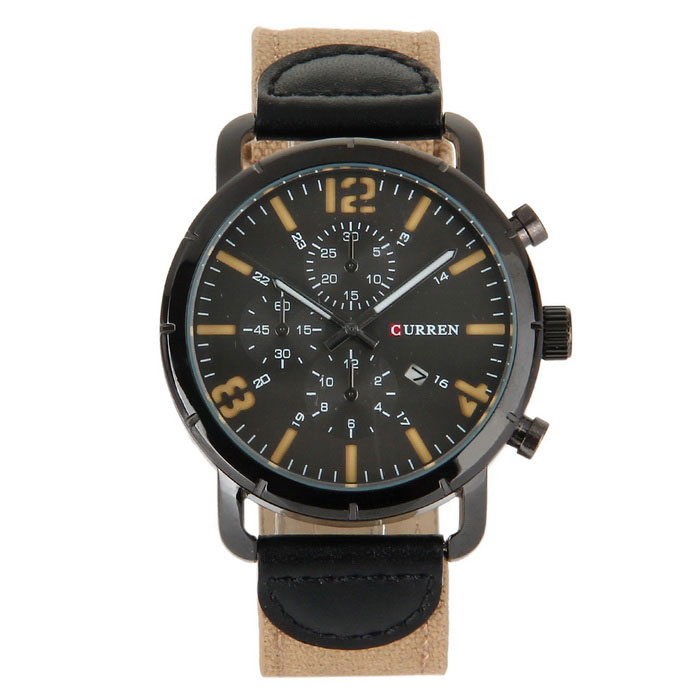 CURREN Mens Fashion Canvas Strap Analog Quartz Watch - Black + KhakiQuartz Watches<br>Form  ColorBlack+KhakiModel8194Quantity1 DX.PCM.Model.AttributeModel.UnitShade Of ColorBrownCasing MaterialStainless steelWristband MaterialCanvasSuitable forAdultsGenderMenStyleWrist WatchTypeFashion watchesDisplayAnalogBacklightYesMovementQuartzDisplay Format12 hour formatWater ResistantWater Resistant 3 ATM or 30 m. Suitable for everyday use. Splash/rain resistant. Not suitable for showering, bathing, swimming, snorkelling, water related work and fishing.Dial Diameter4.3 DX.PCM.Model.AttributeModel.UnitDial Thickness1.2 DX.PCM.Model.AttributeModel.UnitWristband Length24 DX.PCM.Model.AttributeModel.UnitBand Width2.2 DX.PCM.Model.AttributeModel.UnitBattery1 x LR626 battery (include)Packing List1 x Watch<br>