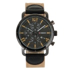 CURREN Men's Fashion Canvas Strap Three Decorative Sub-dials Analog Quartz Watch - Black + Khaki
