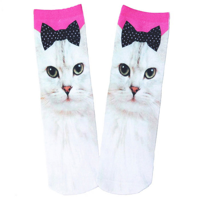 Fun Cat Wearing Bowknot Printing Cotton Socks - Multicolored (Pair)