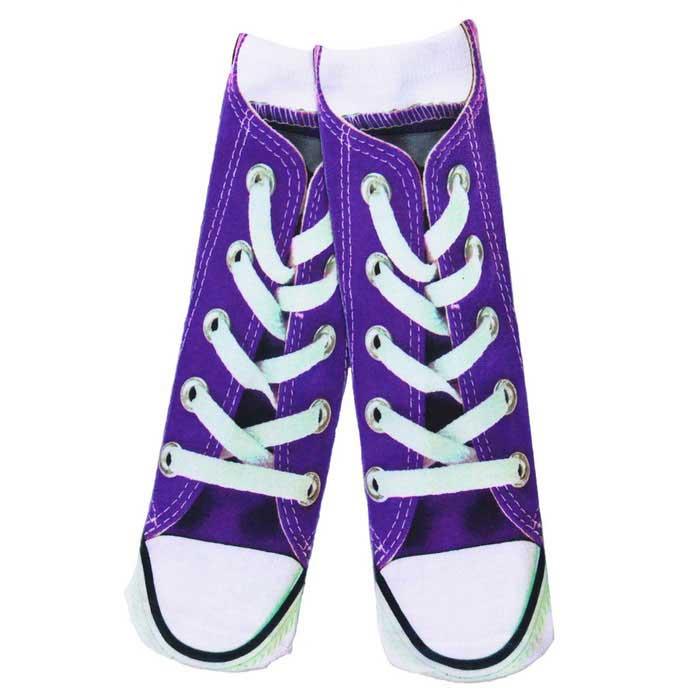 Spoof Fun Shoes Printing Cotton Socks - Purple + Multicolored (Pair)