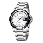 SKONE Business Alloy Band Quartz Watch w/ Calendar - Silver + White