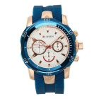 CURREN Men's Fashion Silicone Strap Three Decorative Sub-dials Analog Quartz Watch - Rose Gold +Blue