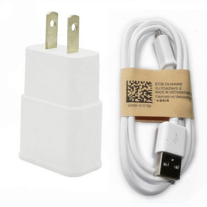 Universal 5V / 2A US Plugss Power Adapter + Micro USB Data Cable - White