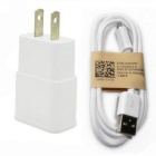 Universal 5V / 2A Power Adapter Charger + Micro USB Data Cable (US Plug) - White