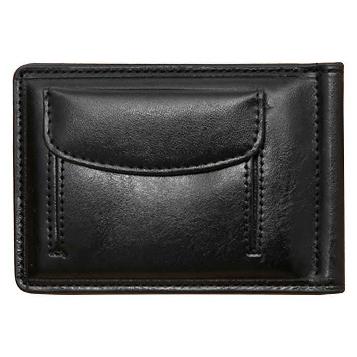 Unisex Fashion Folding PU Leather Wallet Purse w/ Cash Clip - Black