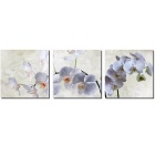 "Bizhen Frame-Free 3 Panels White Butterfly Orchid Painting Canvas Wall Decor Murals (59.06""x19.69"")"