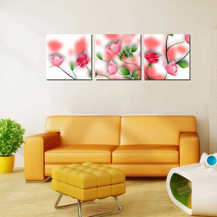 Bizhen Frame-Free 3 Panels Pink Rose Painting Canvas Wall Decor ...