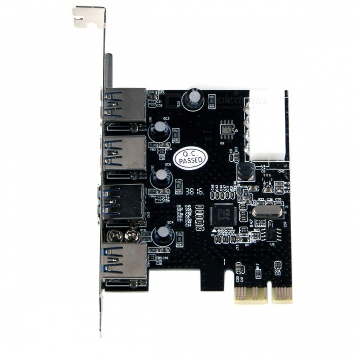 PCI-e USB 3.0 Adapter Extension Card w/ 4-Port VIA - Black