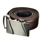 Men's Parallel Curves Pattern Leather Belt w/ Buckle - Brown (120cm)