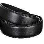 Men's Parallel Curves Pattern Leather Belt w/ Buckle - Black (120cm)