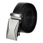 Men's Fashionable Automatic Buckle Cow Split Leather Belt - Black (120cm)