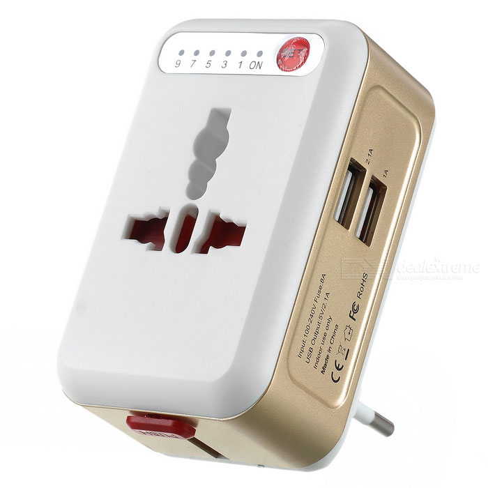 Universal World Travel Adapter - White + Light Gold