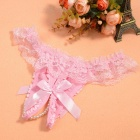 Women's Bowknot & Pearls Open Crotch Thong Underwear - Pink + White