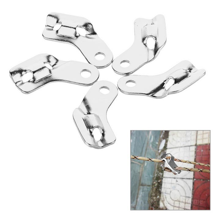 Outdoor Tent Cord Rope Guy Line Runner Fastener - Silver (5PCS)