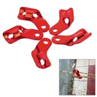 Outdoor Camping Anti-Slip Tent Cord Rope Guy Line Runner Tightener Fastener Tensioner - Red (5pcs)