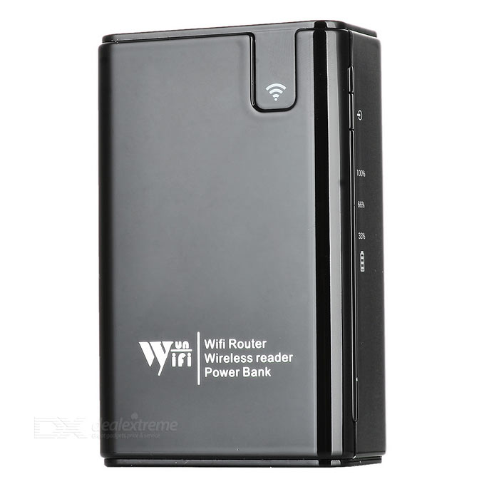 3G / Wi-Fi Router + Power Bank + Wireless Card Reader - BlackRouters<br>Form  ColorBlackQuantity1 DX.PCM.Model.AttributeModel.UnitMaterialABSShade Of ColorBlackTypeRouter,Others,Mobile power + wireless card readerTransmission Rate150 DX.PCM.Model.AttributeModel.UnitNetwork ProtocolsIEEE 802.11n,IEEE 802.11b,IEEE 802.11gSlotTF,Others,CF/M2/SD/MSFrequency RangeOthers,2.4 DX.PCM.Model.AttributeModel.UnitWireless Data Rates150MLAN1UI LanguageEnglishSupport DD-WRTNoNetwork ProtocolIPPowered ByBuilt-in BatterySupports SystemWin xp,Win 2000,Win 2008,Win vista,Win7 32,Win7 64,Win8 32,Win8 64,MAC OS XPacking List1 x Wi-Fi router1 x USB cable (100cm±2cm)1 x Chinese / English manual<br>