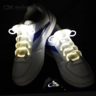 CTSmart Waterproof White LED Luminous Glass Fiber Shoelace - White