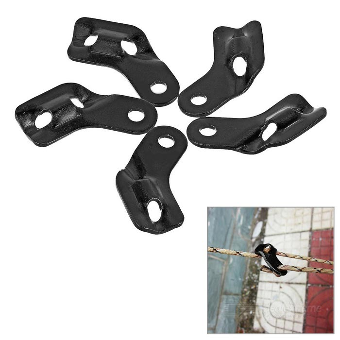 Outdoor Tent Cord Rope Guy Line Runner Fastener - Black (5PCS)