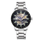 SKONE Men's High-grade Automatic Movement Stainless Steel Strap Mechanical Watch - Silver + Black