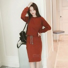 Fashion Cotton Blended Contracted Round Neck Long Sleeve Coat + Skirt Suit - Coffee