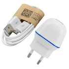 AC Charger + Micro USB Data Cable - White + Blue (EU Plug / 100cm)