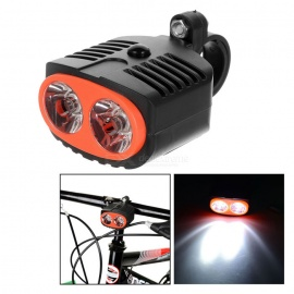 Bike Bicycle LED White Light 3-Mode Front Lamp w/ Mount - Black + Red