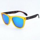 OSSAT MX-1002 Outdoor Sports PC Frame Blue REVO Polarized Lenses Glasses - Yellow + Leopard Print
