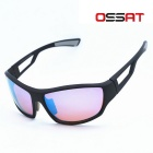 OSSAT Outdoor Sports Cycling PC Frame Blue REVO Polarized Lenses Glasses Sunglasses - Tawny + Black
