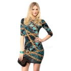 Polyester + Spandex Fashionable Sexy Chain Printed Package Hip Dress - Black + Multicolor  Size L