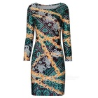 Fashionable Sexy Chain Printed Package Hip Dress - Multicolored (L)