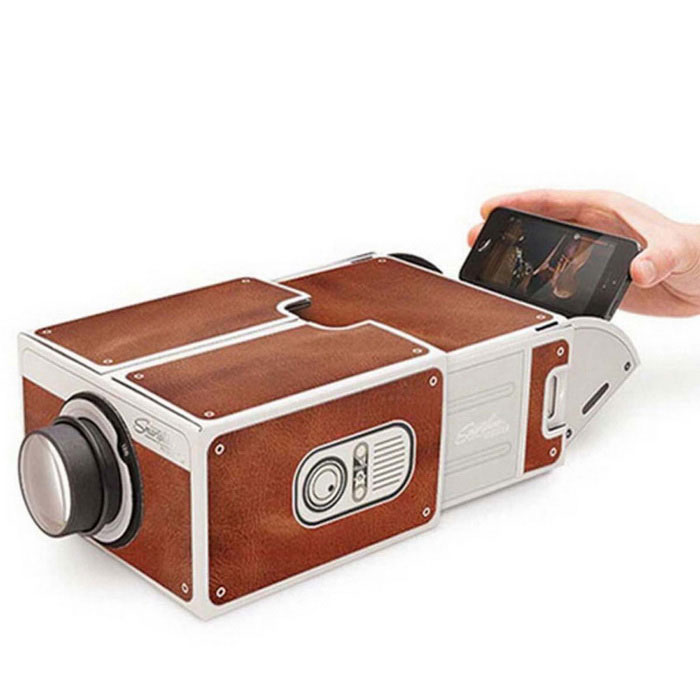 TS-T2 Fantasy Cinema Cardboard Smartphone Projector - Brown + White