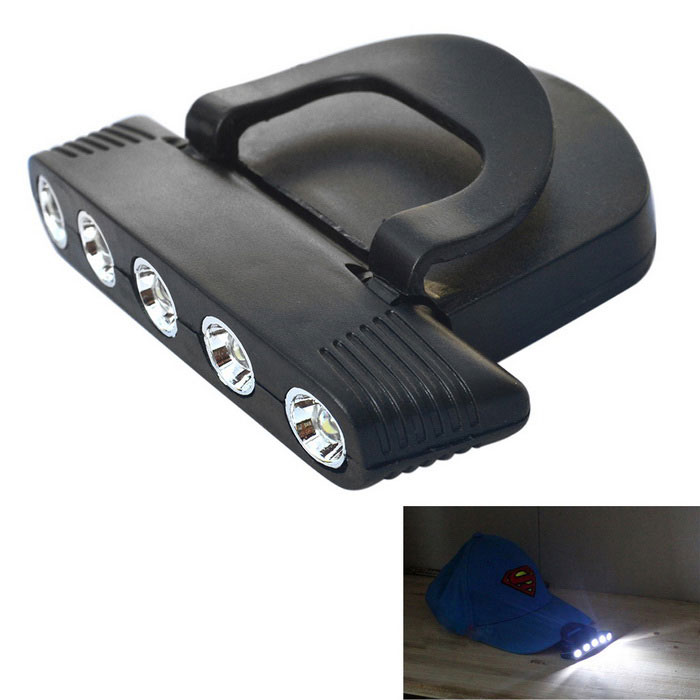 Jiawen Adjustable Angle Clip-on LED Cap Lamp Fishing Light - Black