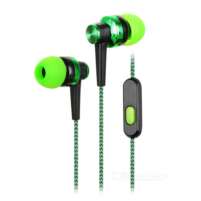 3.5mm Earphone w/ Mic for Samsung / IPHONE + More - Green + Black