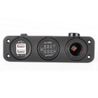 Car Voltmeter / Current Meter + Cigarette Lighter + 2 USB Ports -Black