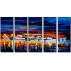"Bizhen Frame-Free 5 Panels Harbour Painting Canvas Wall Decor Murals (86.61"" x 47.24"")"
