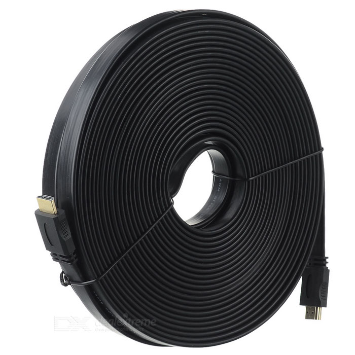 V1.4 1080P HDMI macho a cable de video plano macho - negro (20m)