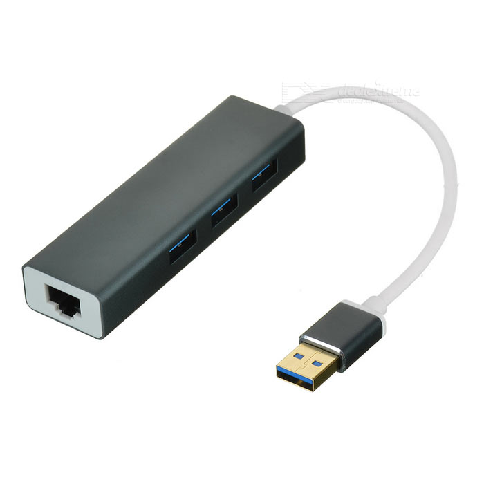 USB 3.0 to RJ45 1000M External Network Adapter + USB Hub - Dark GreyUSB Hubs &amp; Switches<br>Form  ColorDark Grey + WhiteQuantity1 DX.PCM.Model.AttributeModel.UnitMaterialAluminum alloyShade Of ColorGrayIndicator LightNoPort Number3 x USB 3.0 + 1 x RJ45With Switch ControlNoInterfaceUSB 3.0Transmission Rate5 DX.PCM.Model.AttributeModel.UnitPowered ByUSBSupports SystemWin xp,Win 2000,Win vista,Win7 32,Win7 64,Win8 32,Win8 64,MAC OS X,IOS,Linux,Android 2.x,Android 4.xPacking List1 x Adapter (18.5+/-2cm-cable)<br>