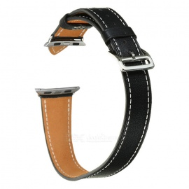 Cow Leather Watch Band w/ Attachment for APPLE WATCH 38mm - Black