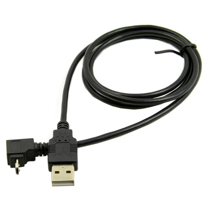 CY U2-204 90' Up Angled Micro USB Data Charging Cable - Black (1m)