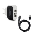 5V 3.1A 3-USB 2.0 Power Adapter Charger + USB 2.0 to 2-Micro USB Data Cable - Black (EU Plug)