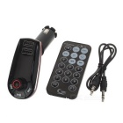 "QR7 1.2"" Car FM Transmitter Player w/ Charger, Red Light, TF - Red"