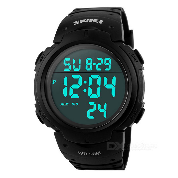SKMEI 50m Waterproof Mens Sports Watch - Black (1*CR2025)Sport Watches<br>Form  ColorBlackQuantity1 pieceShade Of ColorBlackCasing MaterialPCWristband MaterialPUSuitable forAdultsGenderUnisexStyleWrist WatchTypeSports watchesDisplayDigitalBacklightBlueMovementDigitalDisplay Format12/24 hour time formatWater ResistantWater Resistant 5 ATM or 50 m. Suitable for swimming, white water rafting, non-snorkeling water related work, and fishing.Dial Diameter4.7 cmDial Thickness1.4 cmWristband Length26 cmBand Width2.2 cmBattery1 x CR2025Packing List1 x Sports Watch1 x Chinese and English manual1 x Carton packaging<br>