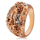 Xinguang Women's Fashionable Five Flowers Style Rhinestones Inlaid Ring - Rose Gold (US Size 6)